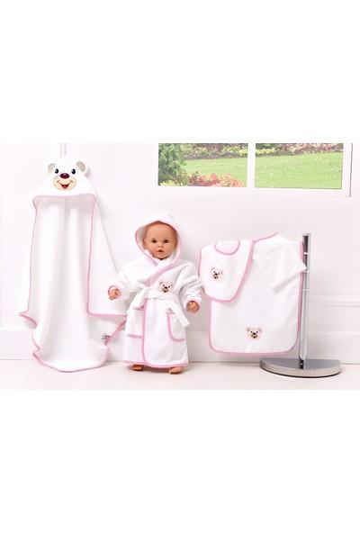 Airycot Bebek Bornoz Seti Pembe Ayı (5 Parça Bebek Seti)