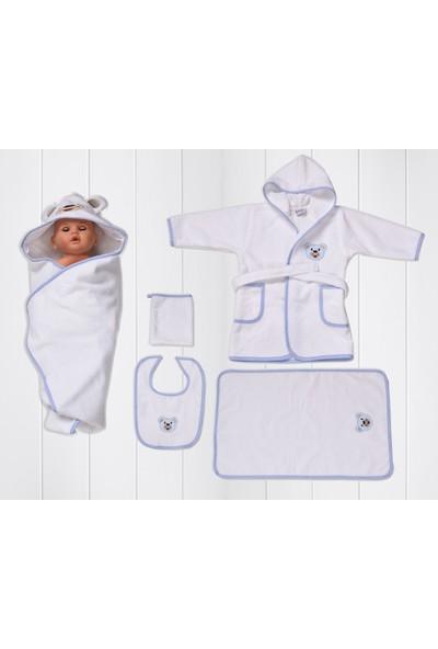 Airycot Bebek Bornoz Seti Mavi Ayı (5 Parça Bebek Seti)