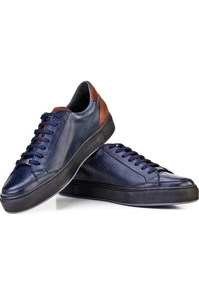 Cabani Bağcıklı Sneaker Erkek Ayakkabı Lacivert Floter Deri