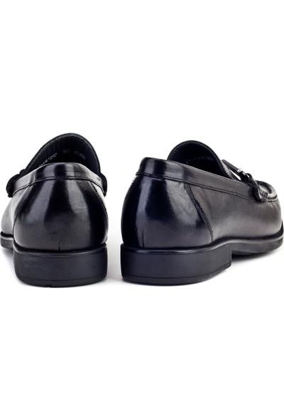 Cabani Tokalı Loafer Günlük Erkek Ayakkabı Siyah Analin Deri