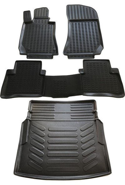 Replax Mercedes W212 E250 3D Havuzlu Paspas 2009-2015 Arası+Rampalı Bagaj Havuzu İkili Set Siyah