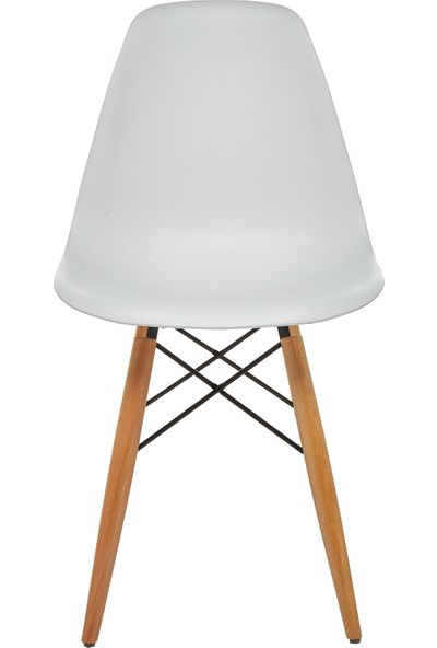 Seduna Beyaz Eames Sandalye - 2 Adet - Natural Ahşap Ayaklı