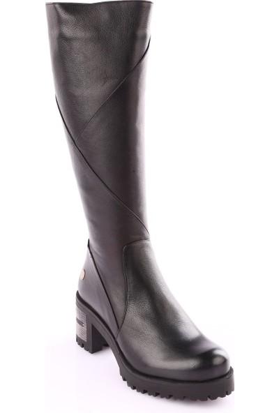 Mamma Mia D18Kc-2010 Kadın Çizme Siyah Yakma