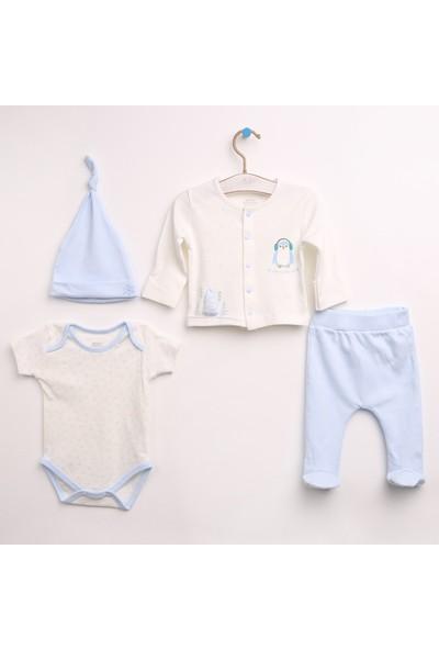 Baby Corner Penguen Hırka - Patikli Alt - Body Şapka Takım