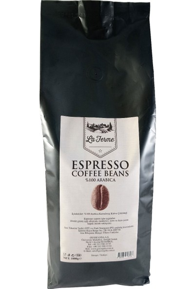 La Ferme Espresso Coffee Beans Çekirdek Kahve %100 Arabica Blend