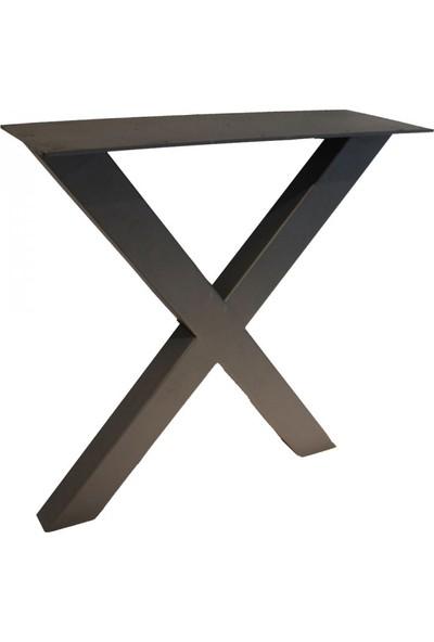 Szn Wood X Masa Ayağı 80X40Mm Profil 70 Cm Siyah Tek