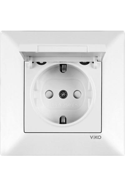 Viko 90967012 - Meridian Çocuk Korumalı Kapaklı Topraklı Priz Beyaz Çerçeveli