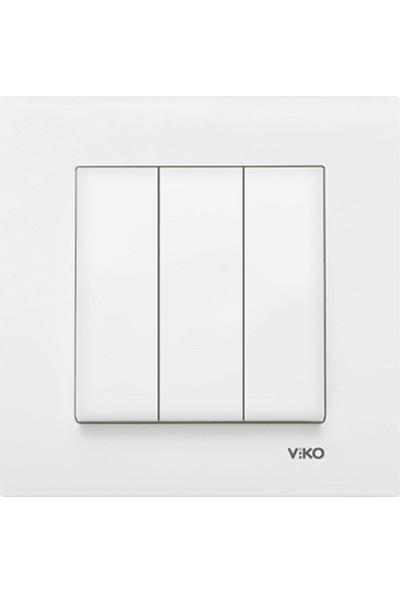 Viko 90967068 - Karre Üçlü Anahtar Beyaz Çerçeveli