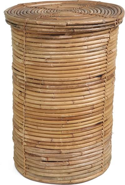 Kanca Ev Bambu Kapaklı Çamaşır Sepeti Büyük