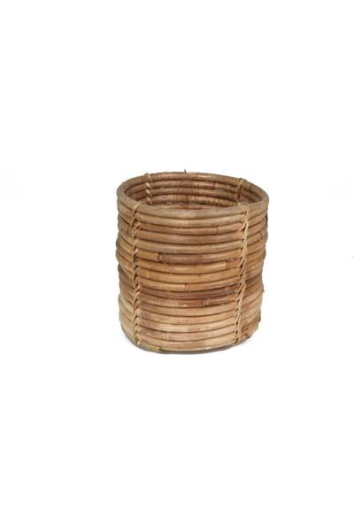 Kanca Ev Bambu Çok Amaçlı Yuvarlak Sepet Küçük