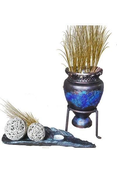 Larya Design Mavi Dekoratif Kabartma Saksı