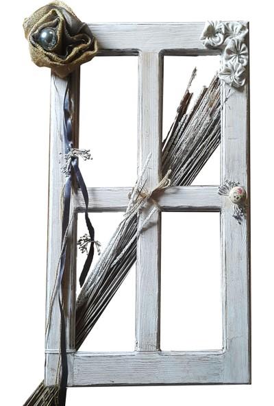 Larya Design Beyaz Eskitme Dekoratif Duvar Penceresi