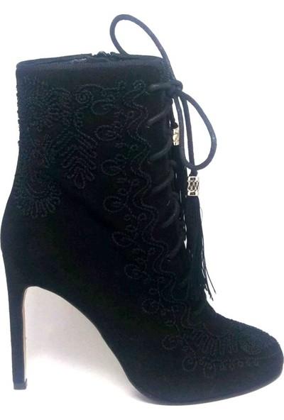 Shop And Shoes 104-105-S03 Bayan Bot Siyah Nubuk