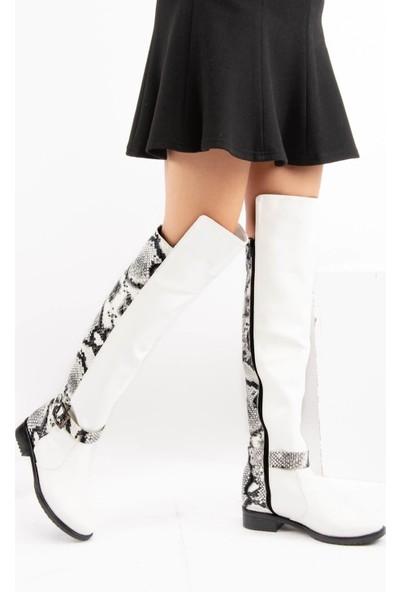 Fox Shoes Beyaz Siyah Yılan Kadın Çizme E726561809