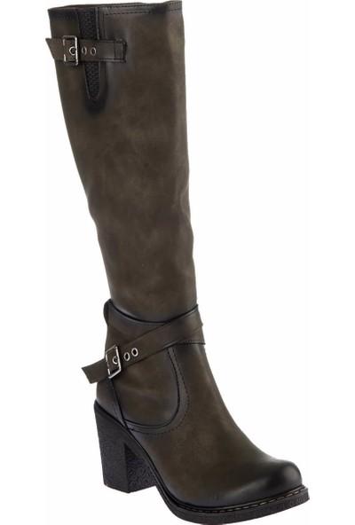 Fox Shoes Haki Suni Deri Kadın Çizme C674250109