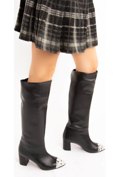 Fox Shoes Siyah Bej Suni Deri Kadın Çizme E654045409