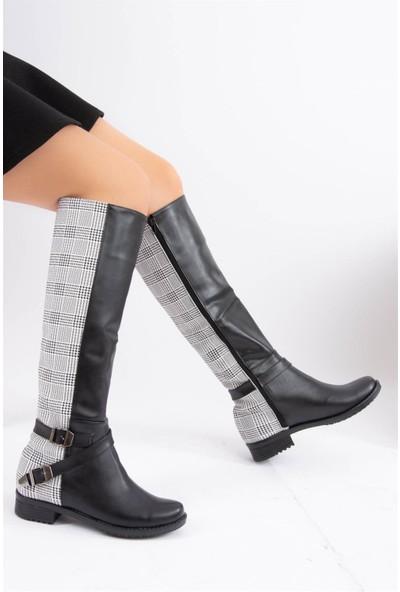 Fox Shoes Beyaz Siyah Ekose Suni Deri Kadın Çizme E726203409