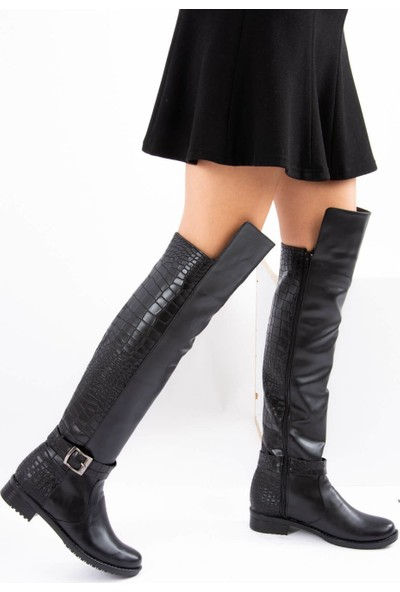 Fox Shoes Siyah Kroko Suni Deri Kadın Çizme E726561809