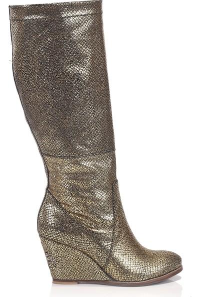 Girl Boss New York Tiffany Altın - Siyah Çizme 1086-BTT-6
