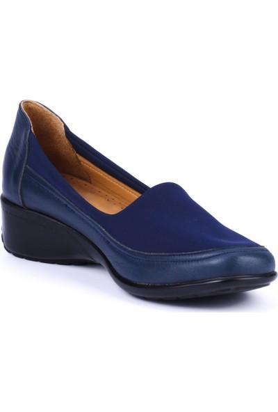 Girl Boss New York Estella Lacivert Deri Hostes Ayakkabısı C4008-F-3