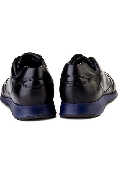 Cabani Bağcıklı Sneaker Erkek Ayakkabı Siyah Deri