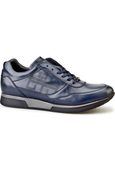 Cabani Lazerli Bağcıklı Günlük Erkek Ayakkabı Lacivert Deri