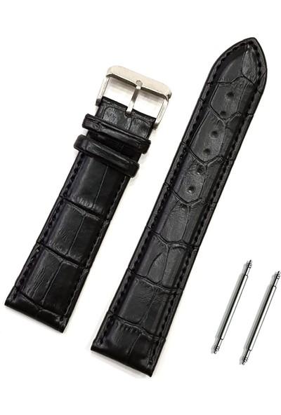 Chrono Siyah Deri Kol Saati Kordonu Deri Kayış 24mm