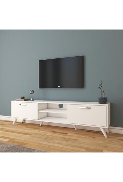 Rani A9 Tv Ünitesi Modern Ayaklı Tv Sehpası Beyaz