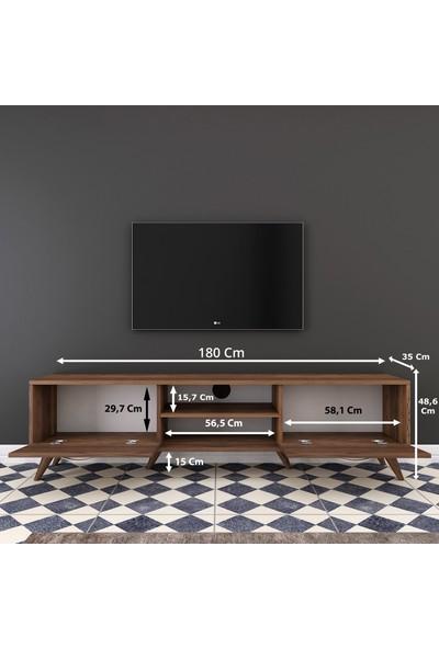 Rani A9 Tv Ünitesi Modern Ayaklı Tv Sehpası Ceviz