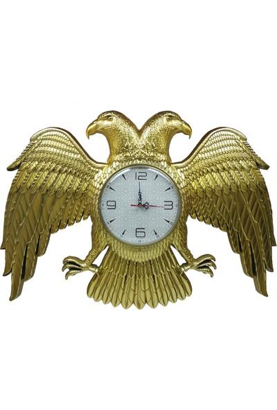 Şenturistik Selçuklu Devleti Arması Çift Başlı Kartal Saat Gold