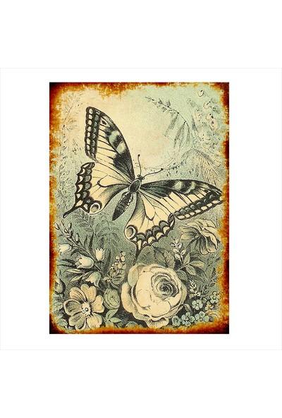 Tablomega Ahşap Tablo Siyah Beyaz Kelebek Ve Çiçek