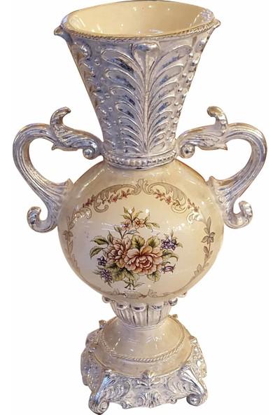 Oyks Seramik Dekoratif Kulplu Vazo Çiçek Desenli NTR1000