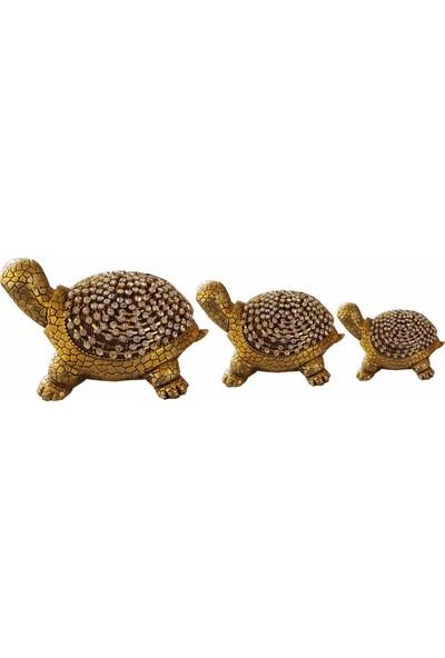 Oyks Taşlı Kaplumbağa Biblo Gold Renk 3lü