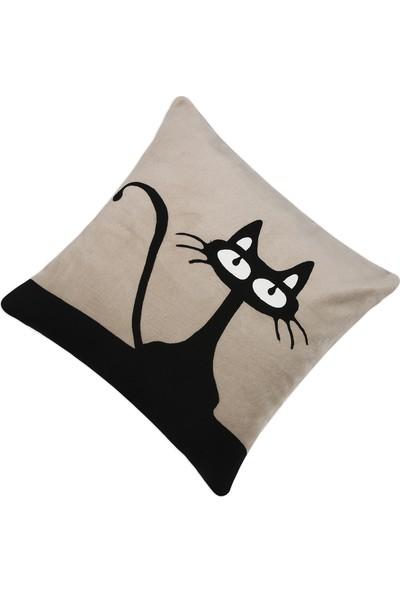Yaratıcı Tasarım Kırlent Yastık Kılıfı Kedi Krem