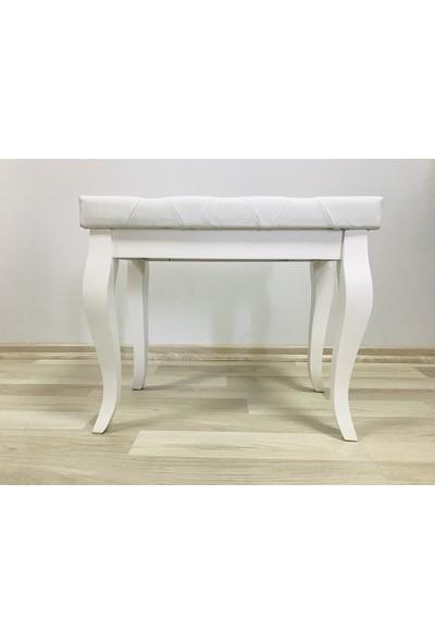 İrem Piyano Taburesi Ahşap Beyaz