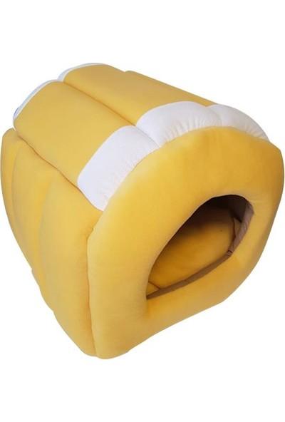 Bedspet Yuvalı Kedi Köpek Yatağı Sarı