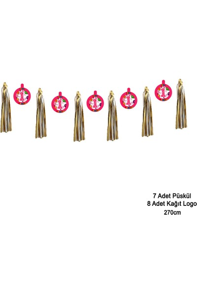 Can Metalize Püsküllü 1 Yaş Doğum Günü Parti Sarkıt Süs Pembe 270cm