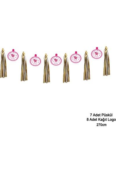 Can Metalize Püsküllü Diş Logolu Diş Buğdayı Parti Sarkıt Süs Pembe 270cm