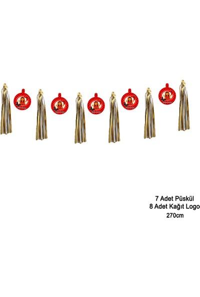 Can Metalize Püsküllü Kına Logolu Kına Gecesi Parti Sarkıt Süs Kırmızı 270cm