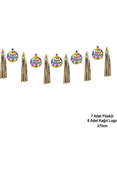 Can Metalize Püsküllü Happy Birthday Logolu Doğum Günü Parti Sarkıt Süs 270cm