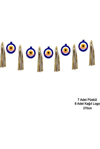 Can Metalize Püsküllü Nazar Boncuğu Maşallah Logolu Sünnet Parti Sarkıt Süs Mavi 270cm