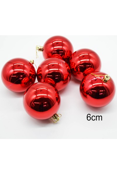 Can Yeni Yıl 6lı Cici Top Yılbaşı Ağacı Süsü Kırmızı 6cm