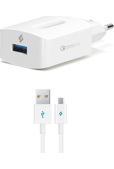 Ttec SpeedCharger QC 3.0 Seyahat Şarj Aleti + Micro USB Kablo Beyaz 2SCQC01M