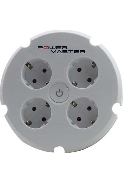Powermaster Akım Korumalı 4 Lü Yuvarlak Kasa Priz