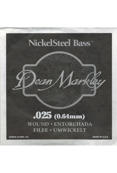 Dean Markley Nickel Steel Bass .025 Bas Gitar Tek Tel