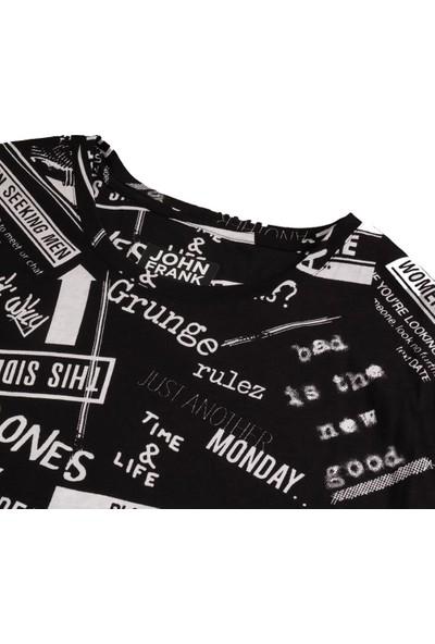 John Frank Monochrome Erkek Siyah T-Shirt