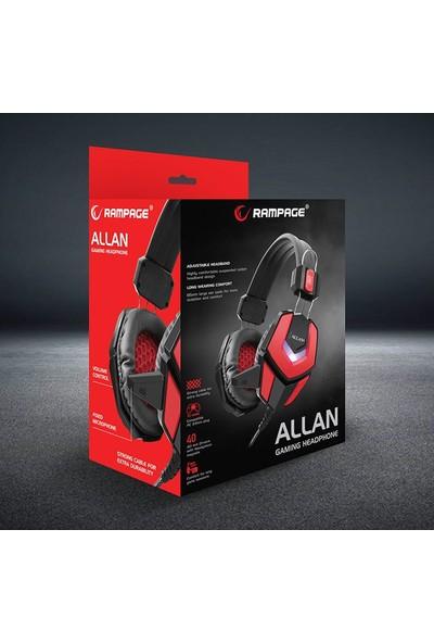 Snopy Rampage ALLAN 2.2m Kablo Oyuncu Mikrofonlu Kulaküstü Kulaklık Kırmızı - Siyah
