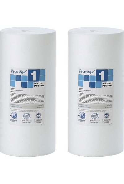 Global Water Solutions Kum ve Tortu Filtresi / 10inç 1 Mikron BigBlue Filtre (2 Adet)