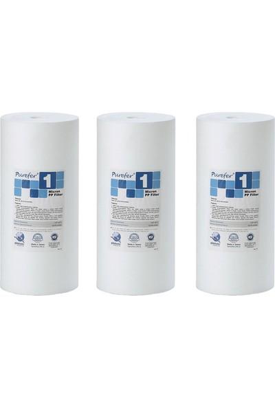 Global Water Solutions Kum ve Tortu Filtresi / 10inç 1 Mikron BigBlue Filtre (3 Adet)
