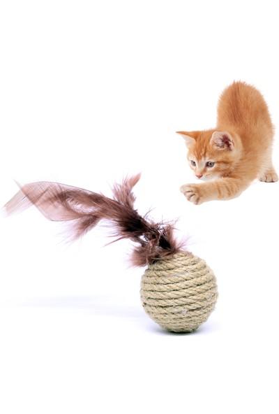 Petviya Tüylü Hasır Top Kedi Oyuncağı 5 Cm
